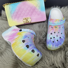 Light Purple Fashion Casual Hollowed Out Tie-dye Printing Round Comfortable Shoes