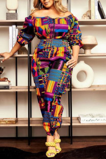 Red Casual Print Split Joint Off the Shoulder Plus Size Two Pieces