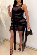 Black Sexy Patchwork See-through Strap Design O Neck Plus Size Sleeveless Dresses