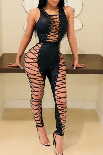 Black Sexy Solid Bandage Hollowed Out Split Joint Frenulum Skinny Jumpsuits