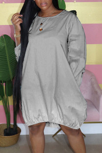 Grey Casual Gradual Change Split Joint Buttons O Neck Straight Dresses