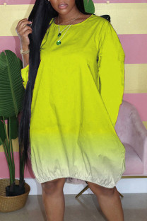 Yellow Casual Gradual Change Split Joint Buttons O Neck Straight Dresses