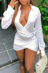White Sexy Casual Solid Split Joint V Neck Long Sleeve Dresses