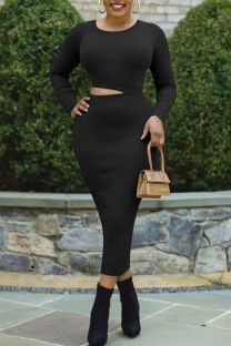 Black Sexy Solid Hollowed Out Split Joint O Neck Pencil Skirt Dresses