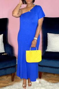 Blue Casual Solid Split Joint Oblique Collar Sheath Dresses
