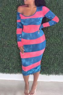 Pink Casual Striped Print Split Joint U Neck Pencil Skirt Dresses
