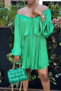Green Casual Solid Split Joint Fold Asymmetrical Off the Shoulder Straight Dresses