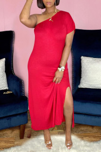 Red Casual Solid Split Joint Oblique Collar Sheath Dresses