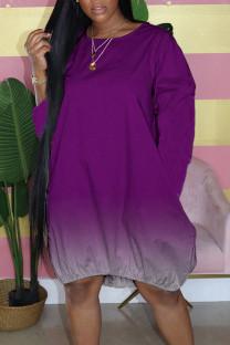 Purple Casual Gradual Change Split Joint Buttons O Neck Straight Dresses