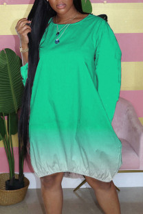 Green Casual Gradual Change Split Joint Buttons O Neck Straight Dresses
