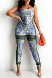 Blue Sexy Print Bandage Split Joint Backless Strapless Sleeveless Two Pieces