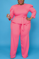 Pink Casual Solid Bandage Split Joint O Neck Plus Size Two Pieces