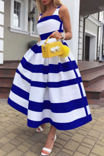 Blue Elegant Striped Print Split Joint U Neck A Line Dresses