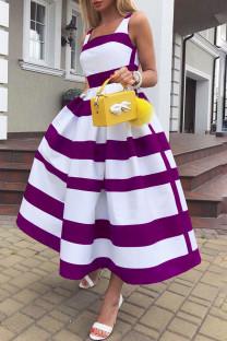 Purple Elegant Striped Print Split Joint U Neck A Line Dresses