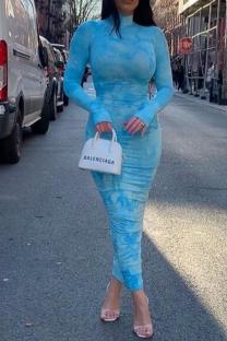 Blue Sexy Print Split Joint Turtleneck Pencil Skirt Dresses