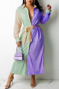 Purple Casual Solid Split Joint Buckle  Contrast Turndown Collar Shirt Dress Dresses