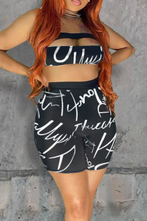 Black Sexy Letter Print Hollowed Out Split Joint Strapless Sleeveless Two Pieces