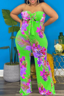 Fluorescent Green Sexy Print Hollowed Out Asymmetrical Strapless Plus Size Jumpsuits