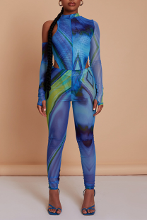 Blue Sexy Print Split Joint Half A Turtleneck Long Sleeve Two Pieces