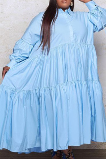 Light Blue Casual Solid Split Joint Turndown Collar Cake Skirt Plus Size Dresses (Without Belt)