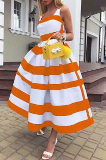 Tangerine Elegant Striped Print Split Joint U Neck A Line Dresses