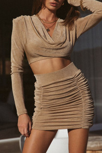 Khaki Celebrities Solid Split Joint Fold V Neck Long Sleeve Two Pieces