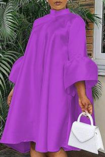 Purple Casual Solid Flounce O Neck Cake Skirt Dresses