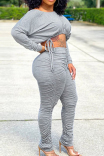 Grey Casual Solid Split Joint Frenulum Fold O Neck Long Sleeve Two Pieces