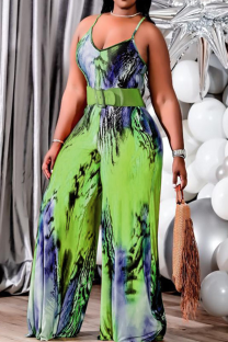 Green Casual Print Split Joint Spaghetti Strap Plus Size Jumpsuits(Without Belt)