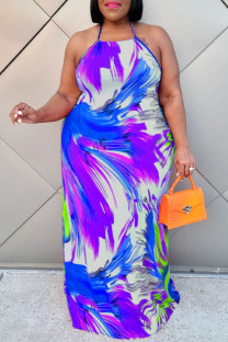 Blue Sexy Print Backless Halter Straight Plus Size Dresses