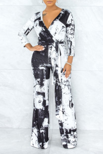 Black Casual Print Solid Tie Dye Bandage Split Joint V Neck Straight Jumpsuits