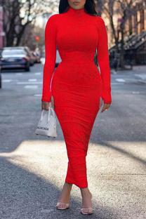 Red Sexy Print Split Joint Turtleneck Pencil Skirt Dresses