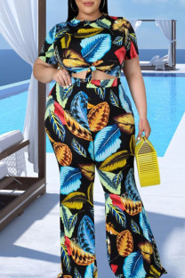 Peacock Blue Sexy Print Split Joint O Neck Plus Size Two Pieces