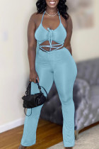 Blue Fashion Sexy Solid Bandage Backless Spaghetti Strap Sleeveless Two Pieces