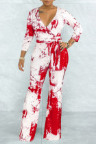 Red Casual Print Solid Tie Dye Bandage Split Joint V Neck Straight Jumpsuits
