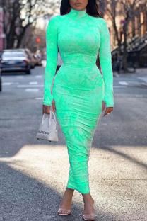 Mint green Sexy Print Split Joint Turtleneck Pencil Skirt Dresses