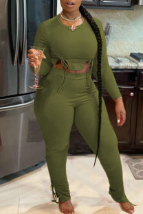 Army Green Casual Solid Split Joint Draw String Asymmetrical O Neck Long Sleeve Two Pieces