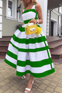 Green Elegant Striped Print Split Joint U Neck A Line Dresses