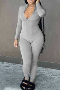 Grey Casual Solid Split Joint Zipper Collar Skinny Jumpsuits