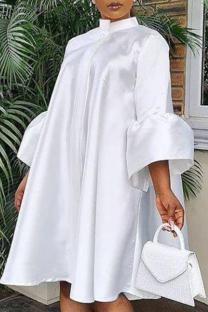 White Casual Solid Flounce O Neck Cake Skirt Dresses