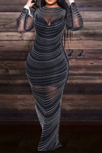 Black Sexy Solid Split Joint See-through Hot Drill O Neck Evening Dress Plus Size Dresses
