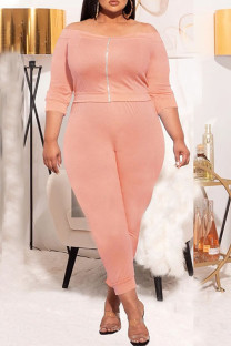 Orange Pink Casual Solid Split Joint Zipper Off the Shoulder Three Quarter Two Pieces