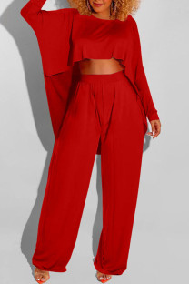 Red Casual Solid Split Joint Asymmetrical O Neck Long Sleeve Two Pieces