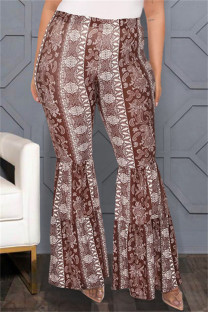 Coffee Fashion Casual Print Basic Plus Size High Waist Trousers