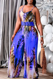 Peacock Blue Casual Print Split Joint Spaghetti Strap Plus Size Jumpsuits(Without Belt)