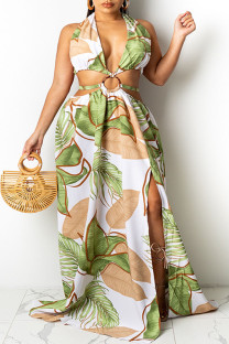 Green Sexy Print Bandage Hollowed Out Split Joint Backless Halter A Line Dresses