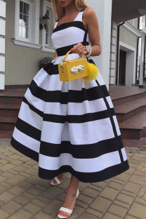 Black White Elegant Striped Print Split Joint U Neck A Line Dresses