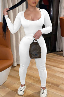 White Sexy Solid Split Joint U Neck Long Sleeve Two Pieces