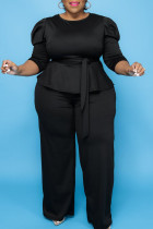 Black Casual Solid Bandage Split Joint O Neck Plus Size Two Pieces