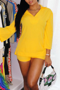 Yellow Casual Solid Split Joint Turtleneck Three Quarter Two Pieces